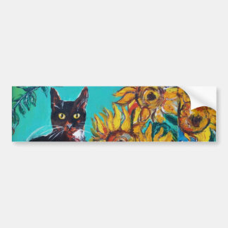 SUNFLOWERS WITH CAT -detail Bumper Sticker