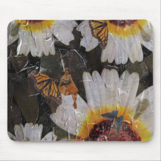 Sunflowers Woman Butterfly Grunge Mouse Pad