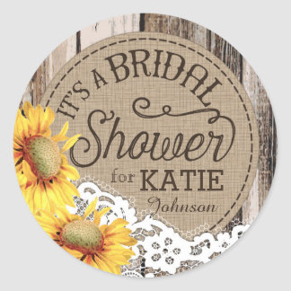 Sunflowers Wood Lace Rustic Bridal Shower Label