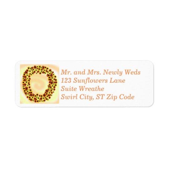 Sunflowers Wreathe Autumn Address Labels