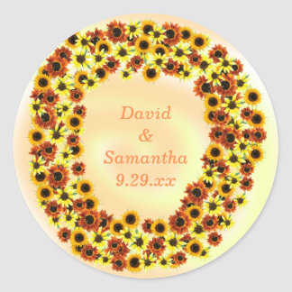 Sunflowers Wreathe Autumn Wedding Date Stickers