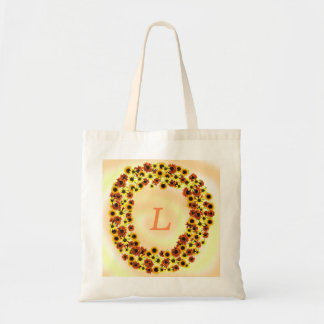 Sunflowers Wreathe Monogram Tote Bags