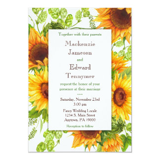 Sunflowers Yellow Floral Wedding Invitation