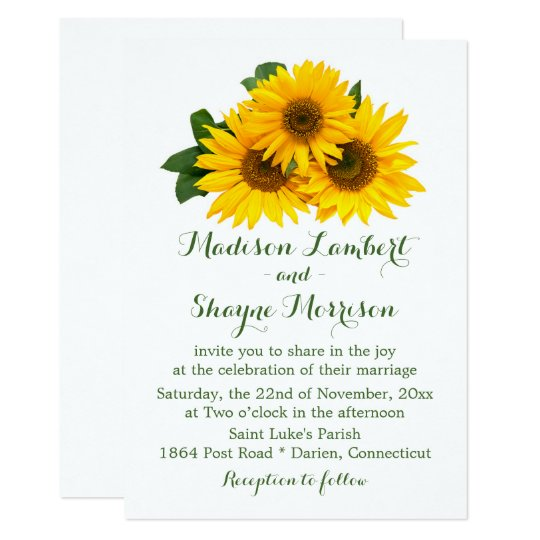 Sunflowers Yellow & Green Floral Wedding Flowers Card
