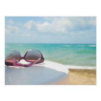 Sunglasses At Beach Poster