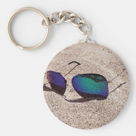 Sunglasses Basic Round Button Keychain
