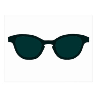 Sunglasses Black Rim Dk Green Lens The MUSEUM Zazz Postcard