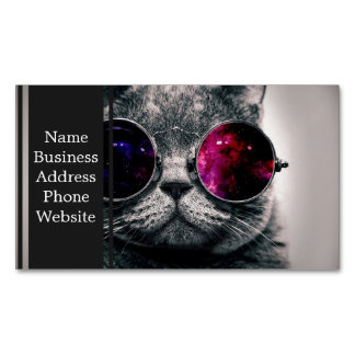 sunglasses cat business card magnet