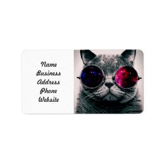 sunglasses cat address label