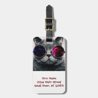 sunglasses cat luggage tag