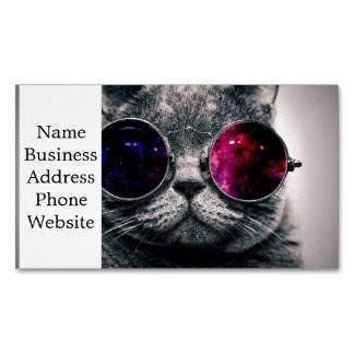 sunglasses cat magnetic business card