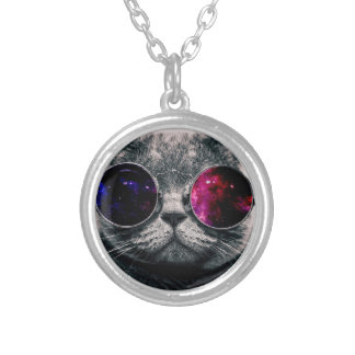 sunglasses cat silver plated necklace