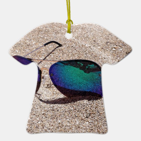 Sunglasses Ceramic T-Shirt Ornament