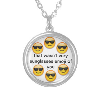 sunglasses emoji silver plated necklace