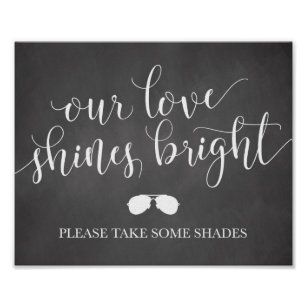 Sunglasses Favours Sign - Our Love Shines Bright