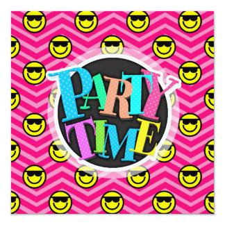 "Sunglasses Happy Face on Pink Chevron Pattern 5.25"" Square Invitation Card"