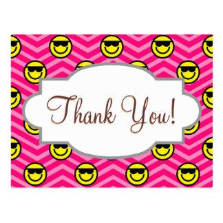 Sunglasses Happy Face on Pink Chevron Pattern Postcard