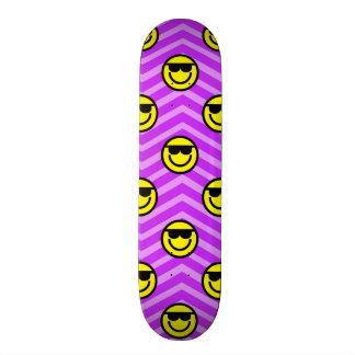 Sunglasses Happy Face on Purple Chevron Pattern Skateboard Decks