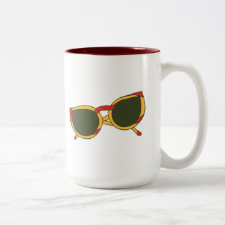 Sunglasses in yellow and red on Mugs