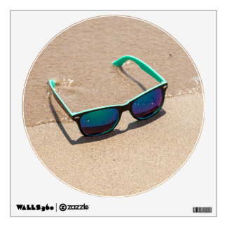 Sunglasses on the Beach Round Wall Decal