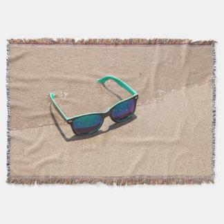Sunglasses on the Beach Throw Blanket