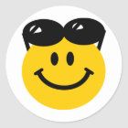 Sunglasses perched on top of head smiley face classic round sticker