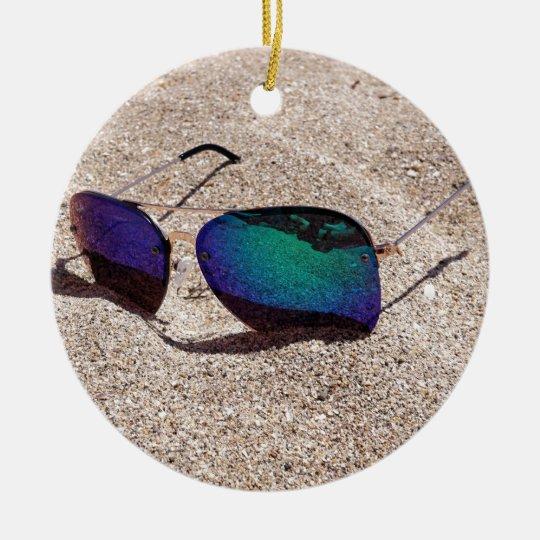 Sunglasses Round Ceramic Ornament