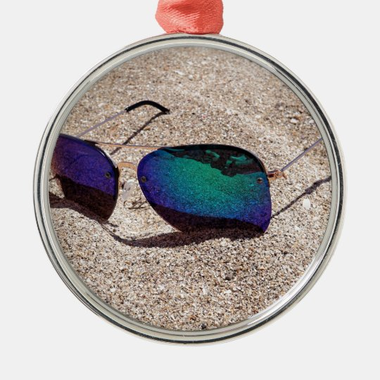 Sunglasses Silver-Colored Round Ornament