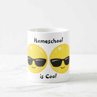Sunglasses Smiling Emoji Homeschool is Cool Coffee Mug
