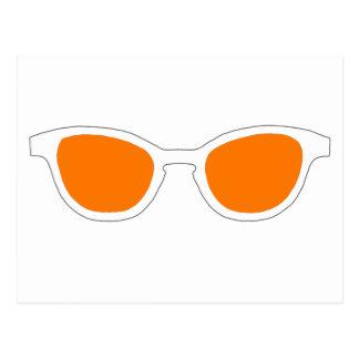 Sunglasses White Rim Orange Lens The MUSEUM Zazzle Post Cards