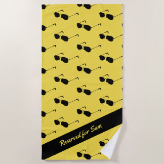 Sunglasses - Yellow & Black - Custom Name / Text Beach Towel