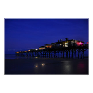 Sunglow Pier Night Stars Daytona Beach Poster
