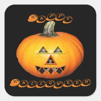 Sunglow Pumpkin Happy Halloween Square Sticker