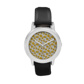 Sunglow Yellow and Gray Vintage Floral Pattern Wrist Watch