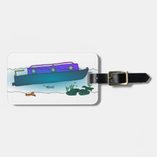 Sunken Narrowboat Luggage Tag