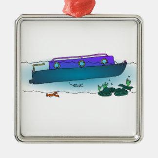 Sunken Narrowboat Silver-Colored Square Ornament