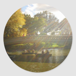 Sunlight and Boats, Bow Bridge, Central Park Round Sticker