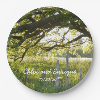 Sunlight And Trees Personalized Wedding Paper Plate