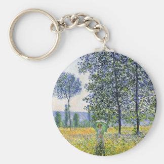 Sunlight Effect under the Poplars  Claude Monet Basic Round Button Keychain