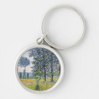 Sunlight Effect under the Poplars  Claude Monet Silver-Colored Round Keychain