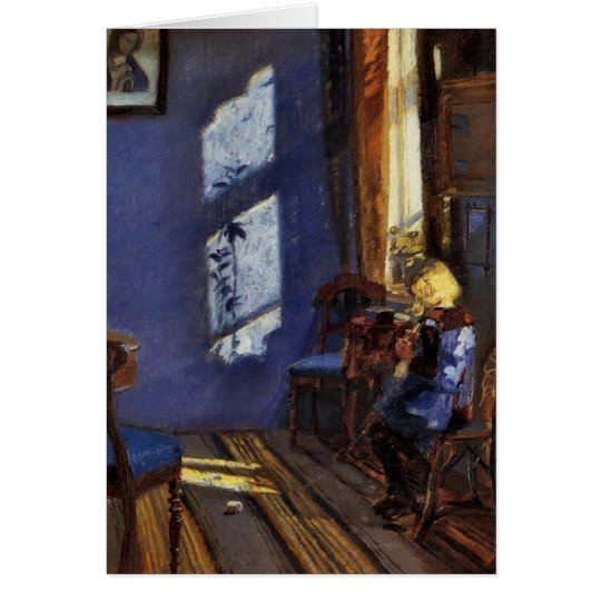 Sunlight in the blue room art by Anna Ancher Card