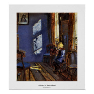 Sunlight in the blue room art by Anna Ancher Poster