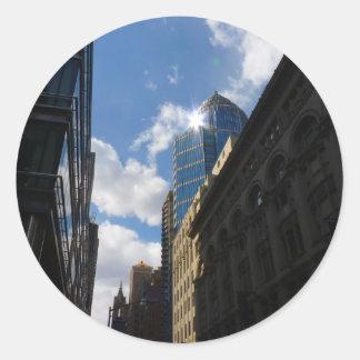 Sunlight on Skyscrapers, Midtown, New York City Round Stickers