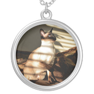 Sunlight Shadows Siamese Cat Silver Plated Necklace