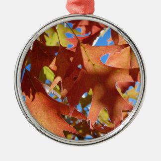 Sunlight Through Autumn Leaves Silver-Colored Round Ornament