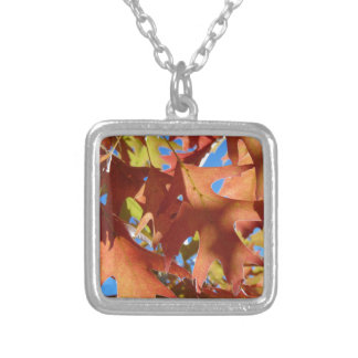 Sunlight Through Autumn Leaves Silver Plated Necklace