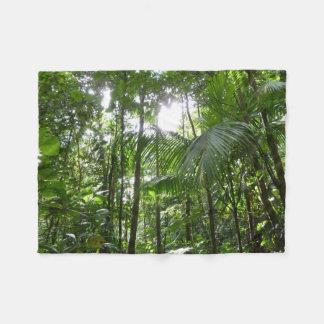 Sunlight Through Rainforest Canopy Tropical Green Fleece Blanket