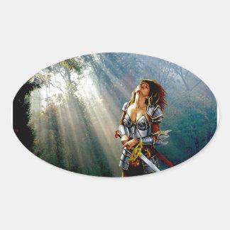 Sunlight Warrior Oval Sticker