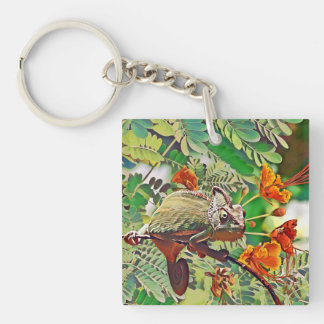 Sunlit Chameleon Keychain