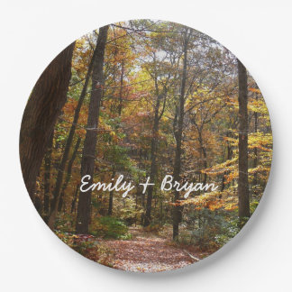 Sunlit Fall Trail in Laurel Hill State Park Paper Plate
